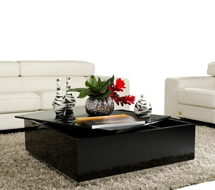 wohnideen-wohnzimmer-couchtisch-schwarz-stauraum-spiegeloberfläche