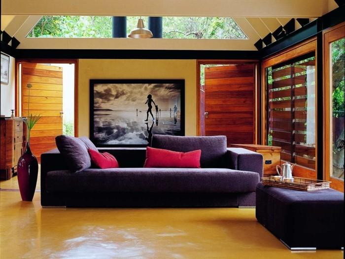 wohnideen wohnzimmer wandbild schickes sofa krasse dekokissen