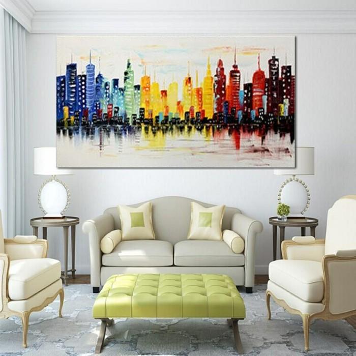 wohnideen wohnzimmer wandbilde mit abstrakten motiven