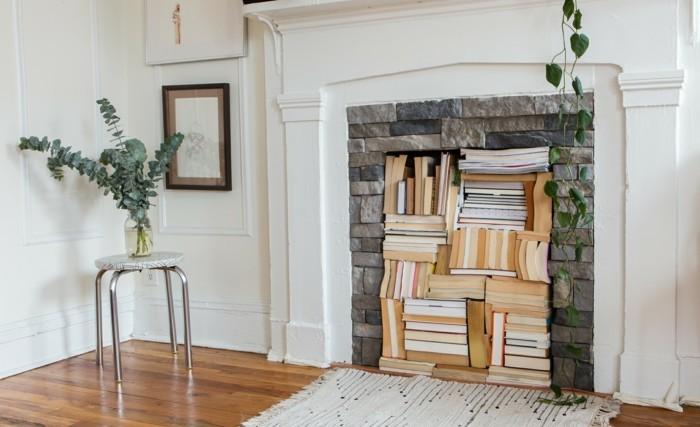 wohnung dekorieren dekoideen wohnzimmer kamin bücher