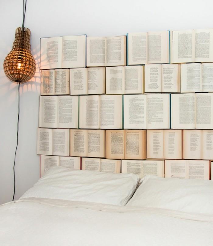 wohnung dekorieren schlafzimmer kopfteil aus büchern