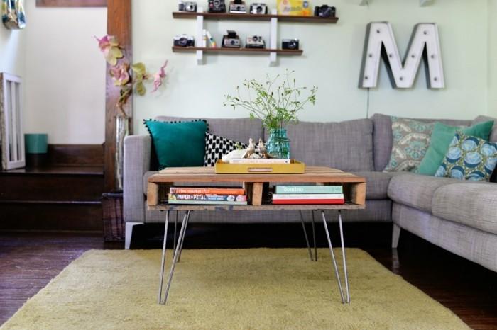 wohnung dekorieren wohnzimmer bücher dekoideen retro ecksofa