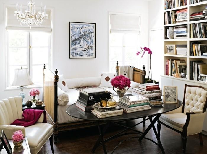 wohnung dekorieren wohnzimmerdeko ideen mit büchern