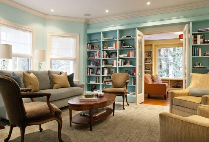 wohnungseinrichtung bücherregale blibliothek wohnzimmer einrichten retro sitzmöbel