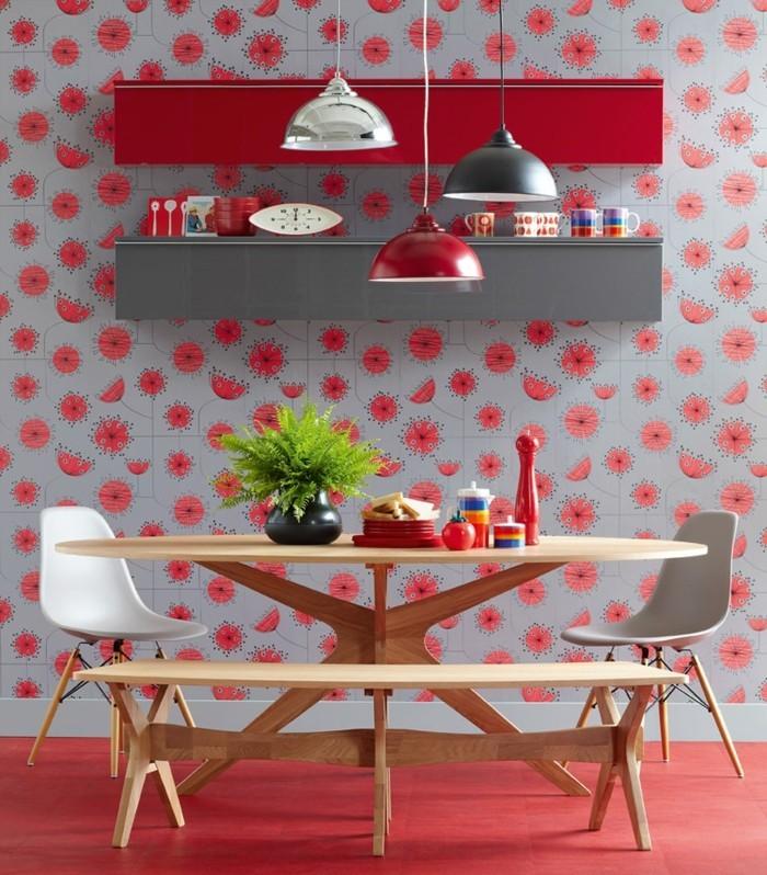 wohnungseinrichtung küche einrichten rote schränke wanddekoration
