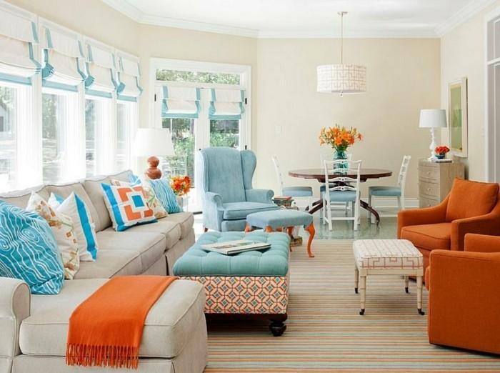 wohnungseinrichtung orangenfarbene sessel wohnzimmer ideen
