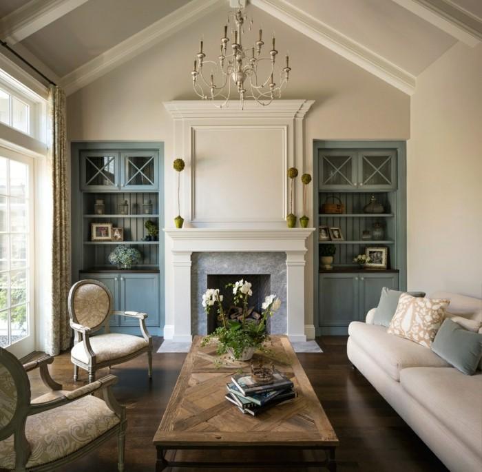 wohnungseinrichtung taubenblau symetrische einbauschränke wohnzimmer