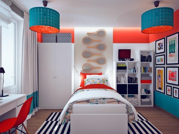 wohnungseinrichtung weiße regale kinderzimmer jungenzimmer orangene wände blaue akzente