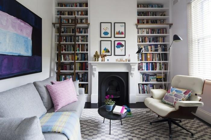 wohnzimmer ideen eklektisches wohnzimmer mit feuerstelle