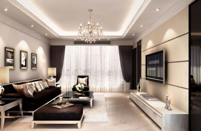Wohnzimmer lampen abgehängte decke luxuriöses wohnzimmer braune