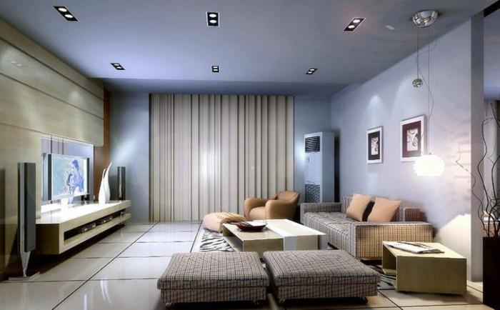 Wohnzimmer Lampen Bodenfliesen Beige Dekokissen Fernseher
