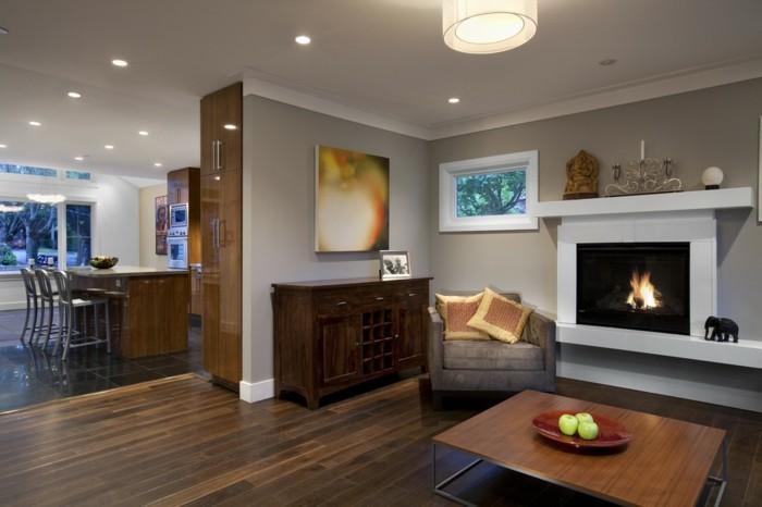 wohnzimmer lampen einbauleuchten deckenbeleuchtung kamin gemütlich