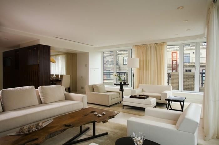 wohnzimmer lampen einbauleuchten weiße möbel lange gardinen bereiche