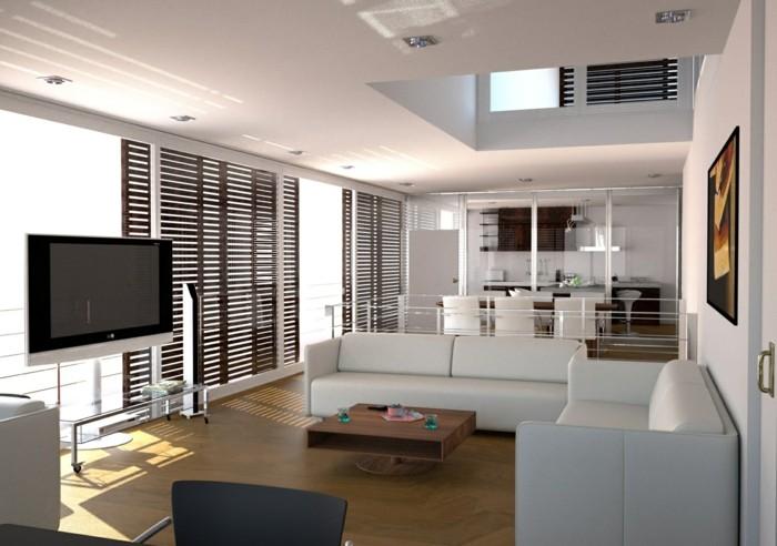 wohnzimmer lampen einbauleuchten weiße sofas kleiner couchtisch