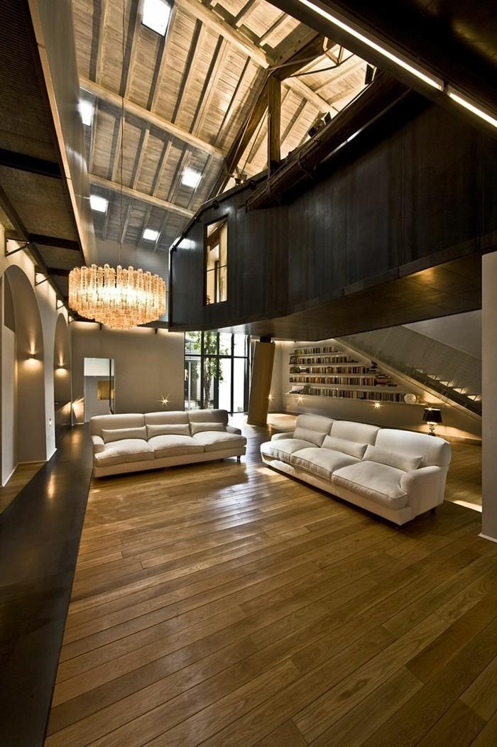 wohnzimmer lampen holzboden beige sofas