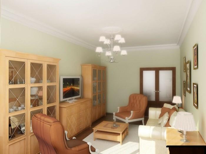 wohnzimmer lampen kleines wohnzimmer einrichten leuchter hellgrüne wände