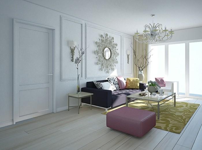 wohnzimmer lampen leuchter helllila akzente gelber teppich