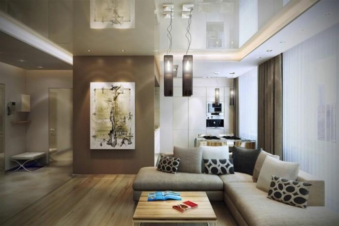 Wohnzimmer Lampen Pendelleuchten Ecksofa Offener Wohnplan