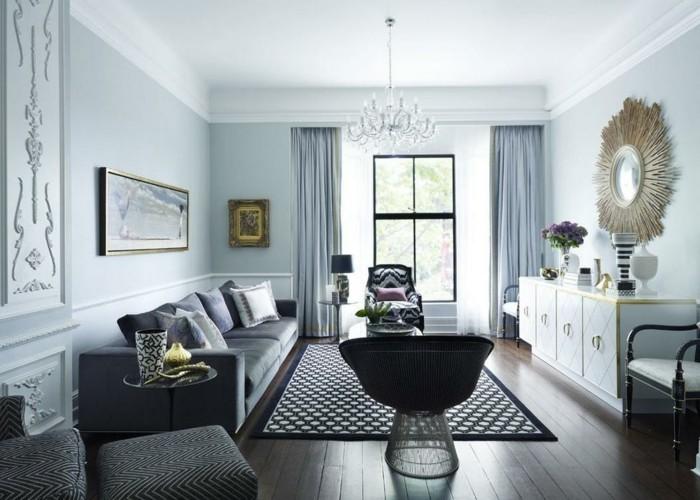 wohnzimmer lampen schöner kronleuchter dunkler boden helle wände dekoaccessoires