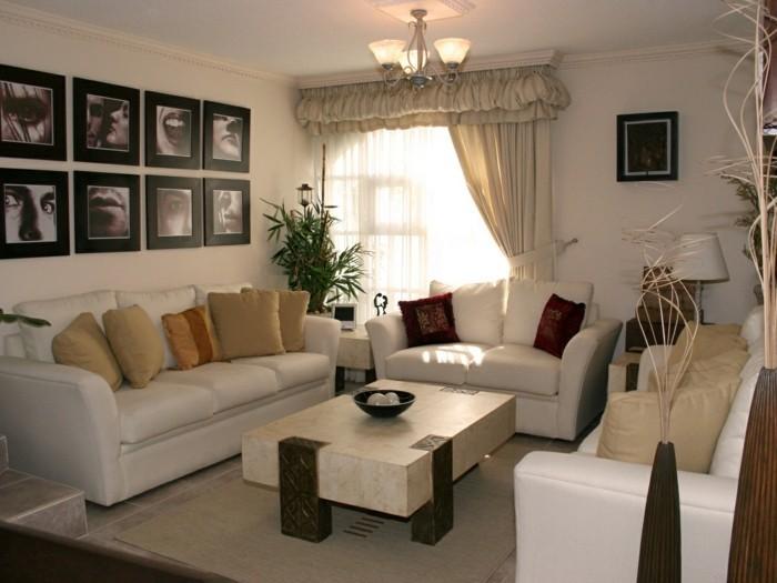 wohnzimmer lampen stehlampe leuchter wanddeko bilder dekokissen kleines wohnzimmer einrichten