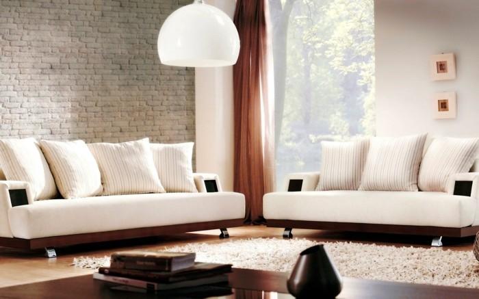 Wohnzimmer Lampen Weiße Hängelampe Ziegelwand Weißer Teppich
