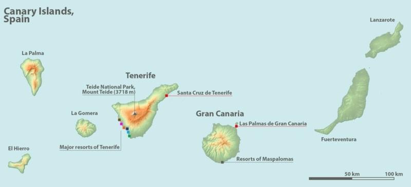 reiseziel kanaren meerurlaub alle inseln landkarte