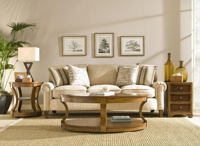 dekoideen wohnung einrichten sofa couchtisch sisalteppich holzschrank dekokissen