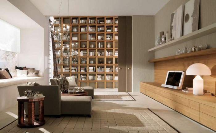 dekoideen wohnung einrichten wohnzimmer bibliothek helles holz runder beistelltisch