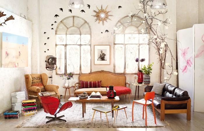 dekoideen wohnzimmer einrichten retro stil sofa sessel teppich