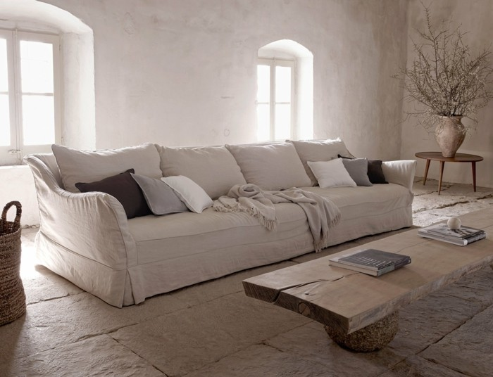 dekoideen wohnzimmer einrichten rustikaler wohnstil leinen naturholz