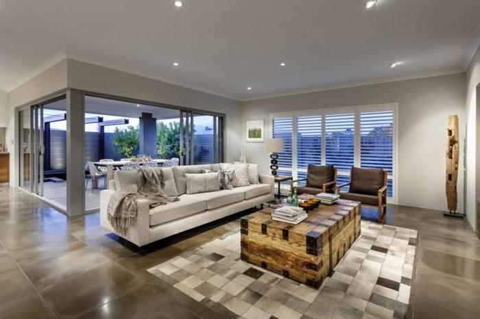 dekoideen wohnzimmer esszimmer einbauleuchten holztruhe couchtisch sofa sessel bodenfliesen
