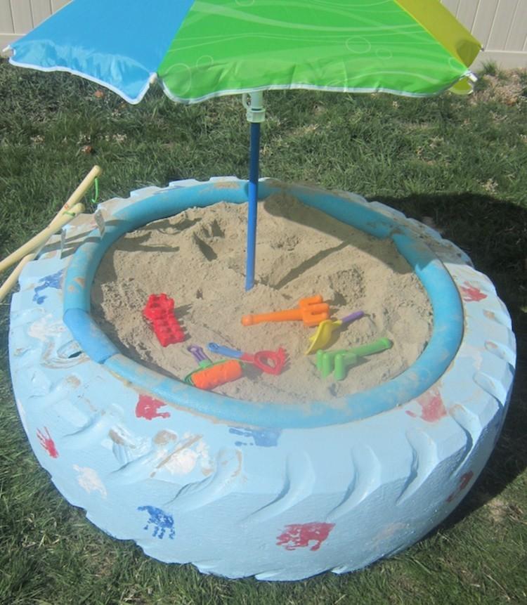 diy projekten mit reifen sandkasten