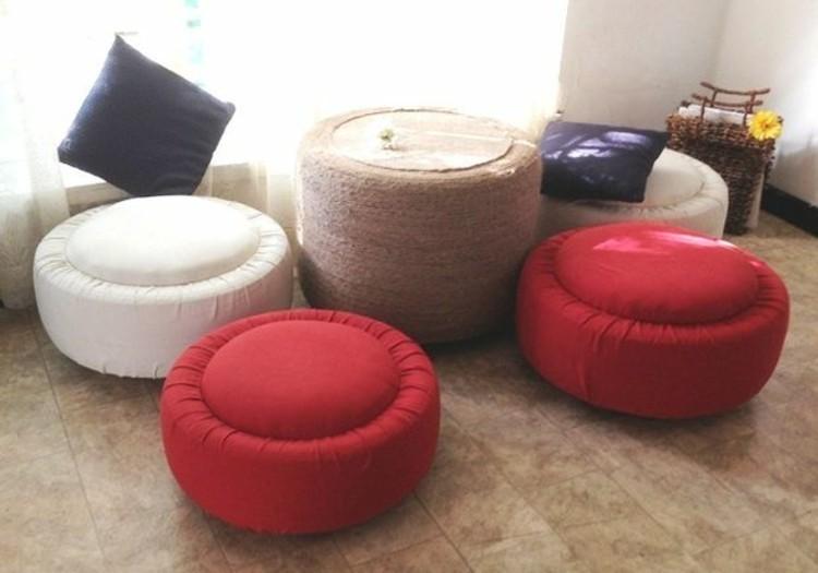diy projekten mit reifen wohnzimmer mobel hocker couchtisch