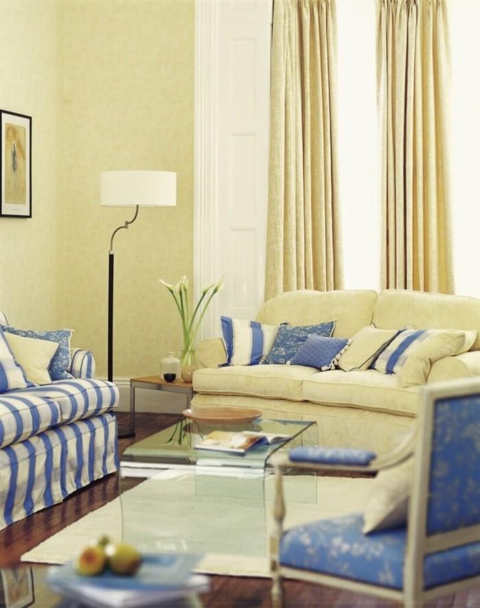 einrichtung landhausstil französisch hellgelbe wände blaue streifen