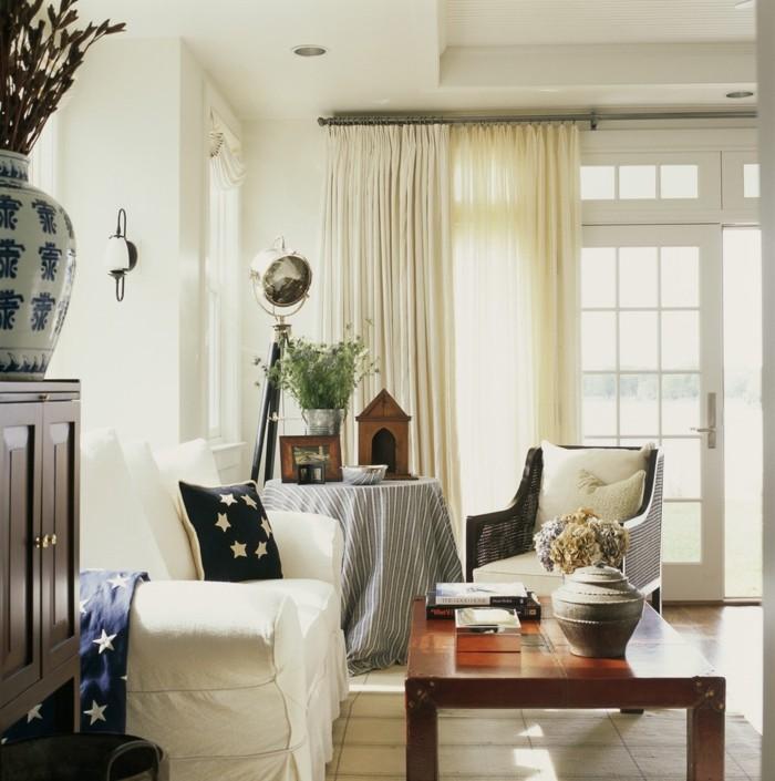 einrichtung landhausstil französisch wohnzimmer pflanze teppich