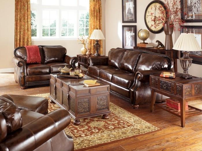 einrichtungsideen vintage stil wohnzimmer ledermöbel gardinen muster