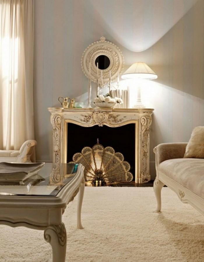 einrichtungsideen vintage wohnzimmer einrichten kamin gardinen beige