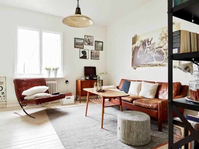 einrichtungsideen vintage wohnzimmer ledermöbel weiße wände hängelampe