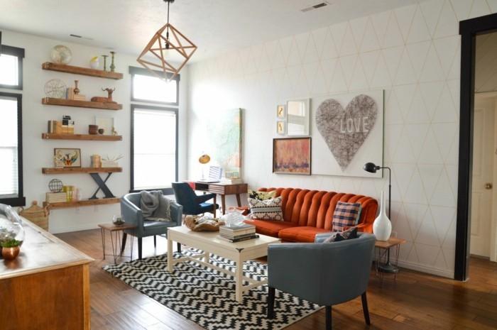 einrichtungsideen vintage wohnzimmer wandregale oranges sofa