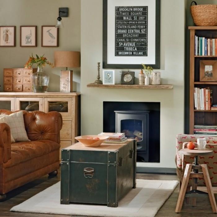 wohnzimmer retro stil:einrichtungsideen wohnzimmer vintage stil kamin wanddeko teppich