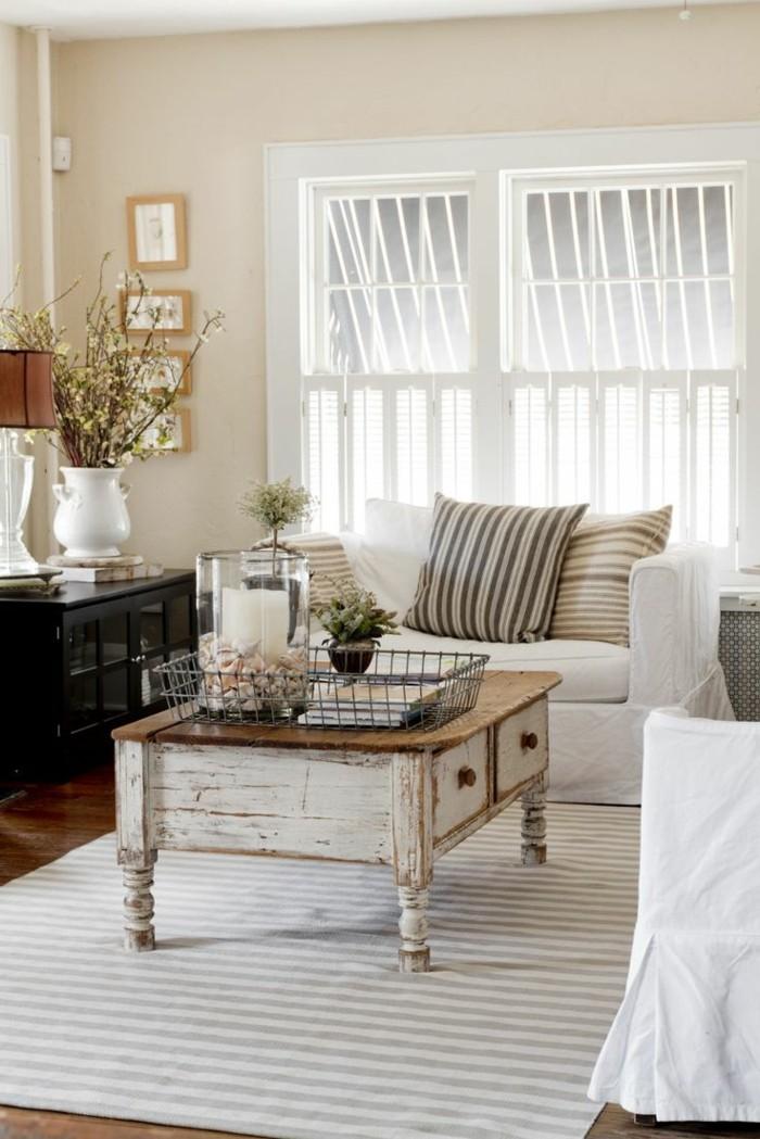 einrichtungsideen wohnideen wohnzimmer vintage streifenteppich