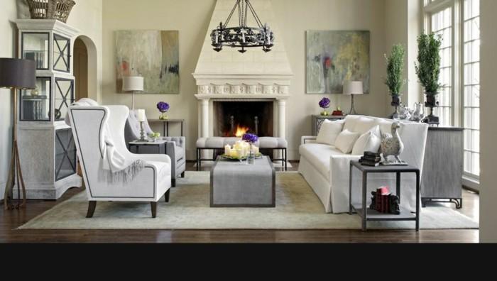 einrichtungsideen wohnzimmer einrichten leuchter kamin wanddeko