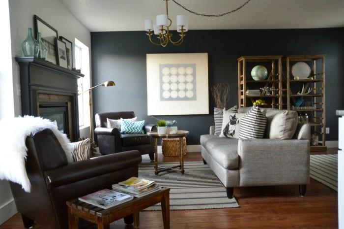 einrichtungsideen wohnzimmer vintage graue akzentwand