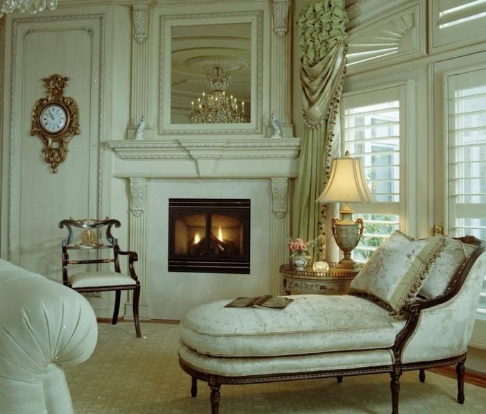 einrichtungsideen wohnzimmer vintage stil wanduhr edle möbel