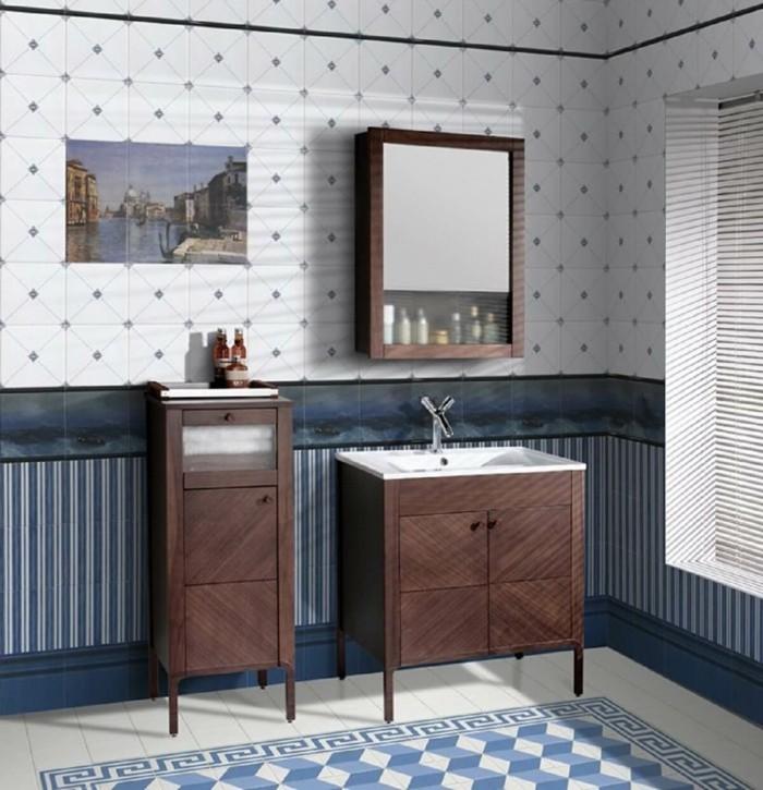 englischer landhausstil bad einrichten badezimmermobel holz bodenfliesen