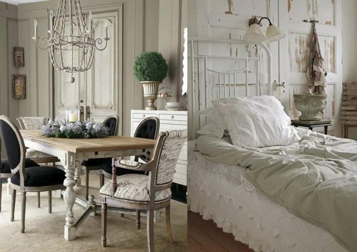 landhausstil metallbett spitze bettwasche esstisch rustikal stuehle kronleuchter