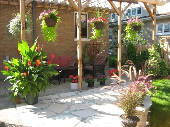 garten gestalten bilder bodenbelag pflanzen erholungsbereich
