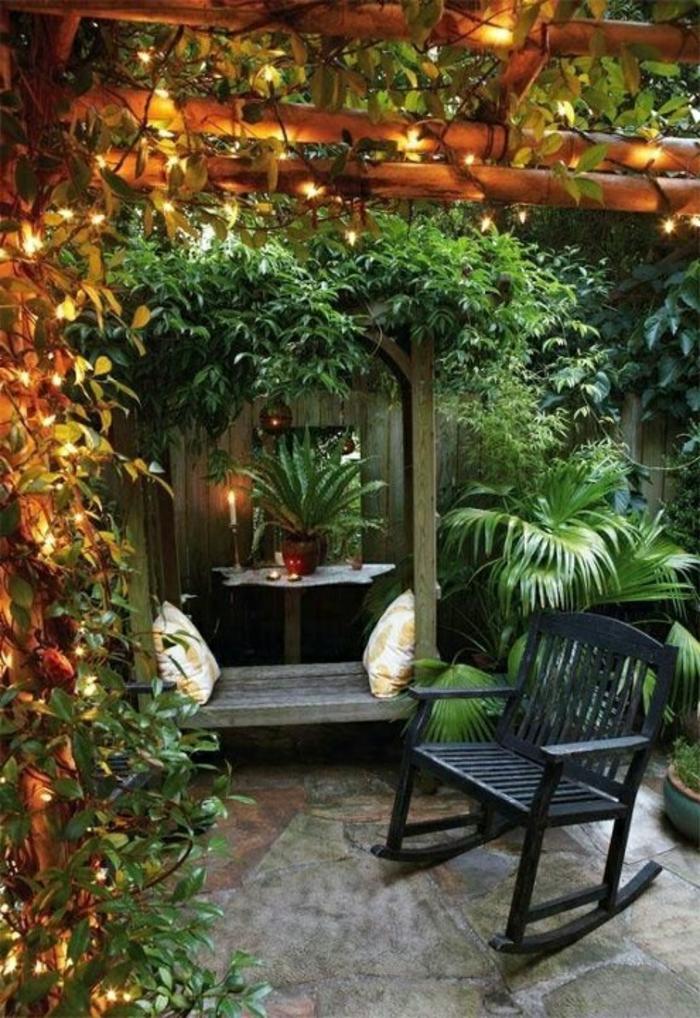 garten gestalten bilder garten beleuchten schaukelstuhl pflanzen