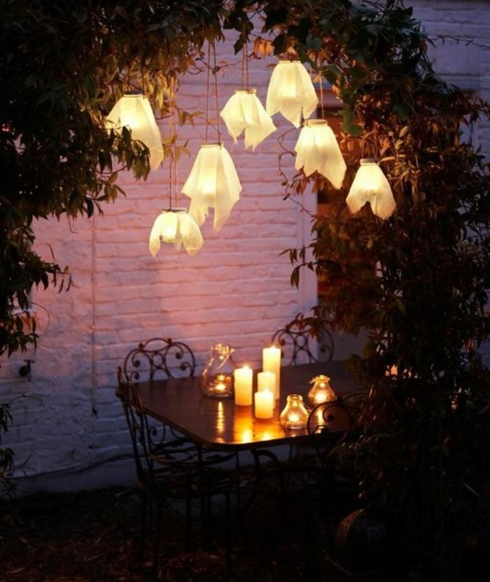 garten gestalten bilder gartenleuchten kerzen nacht
