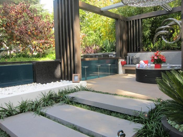 garten gestalten bilder moderner garten treppen steine pflanzen